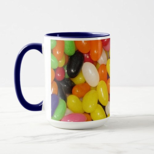 Zazzle Jelly Beans Coffee Mug, Navy Blue Combo Mug 15 oz