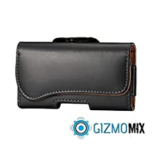 iPhone 6s Holster, Gizmomix® Premium Leather Pouch Carrying Case with Belt Clip Belt Loops Holster for Apple iPhone 6 6s 4.7 Inch (Fits Otterbox / LifeProof Fre & Power Case)