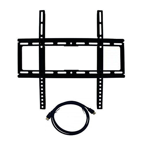 Best Medium Sized Fixed Universal Flat Panel Screen TV Low Profile Wall Mount Bracket with 6 HDMI Cable Bundle 26 – 47 Television Heavy Duty Eas…