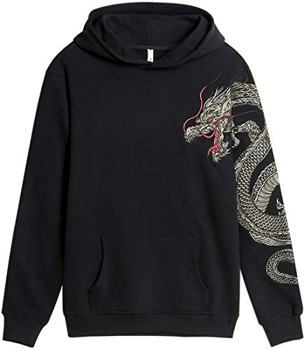 (Chaos World Men's Fashion Hoodie Embroidered Hoodies Men's Sweatshirt Dragon XL)