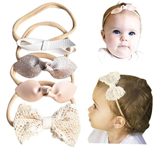 California Tot Rabbit Ears Leather Lace Eyelet Glitter Bows - Soft & Stretchy Nylon Headbands for Baby, Toddler, Girls Set of 4 (Golden Neutral)