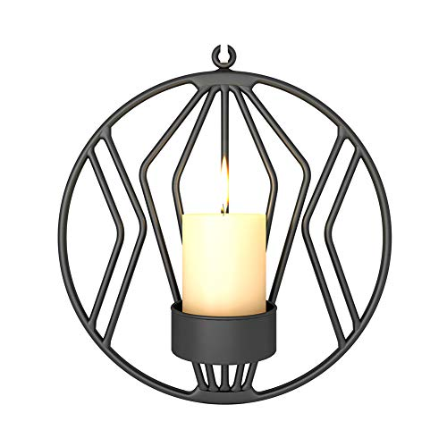 (LAUDOAES 3D Geometric Candlestick Iron Wall Candle Holder Sconce Tealight Home Decor XH8Z NO20 Black)