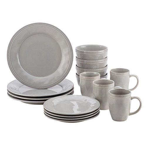 Rachael Ray Cucina Dinnerware 16-Piece Stoneware Dinnerware Set, Sea Salt Grey (Set Stoneware 16 Dinnerware Piece)