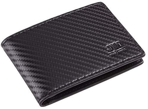 Gostwo Mens Slim Minimalist Front Pocket Wallet Genuine Leather ID Window Card Case RFID Blocking(Black)