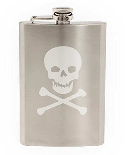 Skull And Crossed Bones Etched Stainless Steel 8 oz Flask
