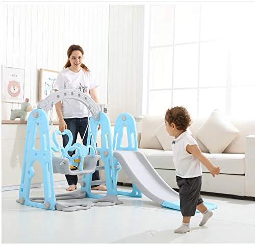 幼児クライマーおよび/バスケットボールフープ、スライドスライドスイングコンビネーション、屋内や裏庭のための遊び場小さな子供多機能玩具wのプレイセットをスライディング1人のクライマーに設定し、3スイング,ピンク