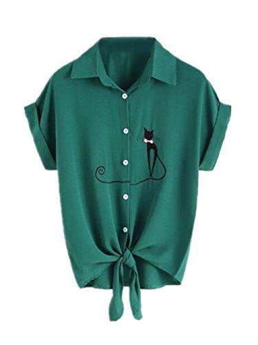 Shirt Manches Top Courtes Revers Femme Haut Chemises Chemises Mode Gogofuture Brod Elegant Leger Blouse Tunique T Vogue Green RqzFn