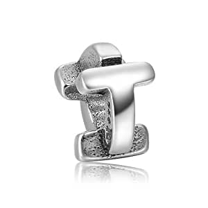 Fall New Arrival Alphabet T Charm 925 Sterling Silver Soufeel Compatible