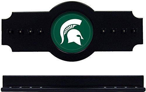 NCAA Michigan State Spartans MSUCRR200-B 2 pc Hanging Wall Pool Cue Stick Holder Rack - Black