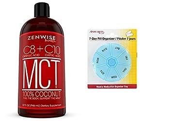 Todo coco Natural aceite MCT - 32 OZ C8 y C10 peso y energía con gratis