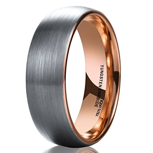 King Will DUO Unisex 6mm Classic Rose Gold Domed Tungsten Carbide Wedding Band Ring Comfort Fit 10.5