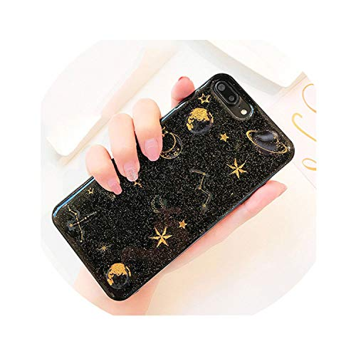 lucky air Epoxy Phone Case for iPhone Xs XR XS Max X 5 5S 6 6S 7 8 Plus X Planet Star Transparent TPU Phone Back Cover Cases,Black,for iPhone 6 6S