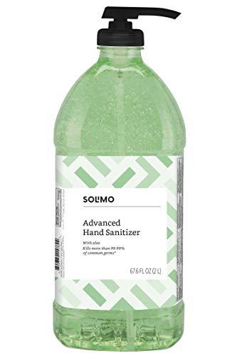 (Amazon Brand - Solimo Advanced Hand Sanitizer with Aloe and Vitamin E, 2 Liters)