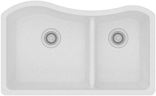 Elkay Quartz Classic ELGHU3220RWH0 White 60 40 Double Bowl Undermount Sink