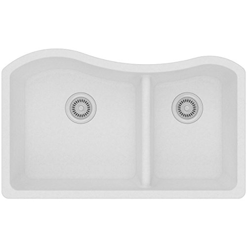 Elkay Quartz Classic ELGHU3220RWH0 White 60/40 Double Bowl Undermount Sink