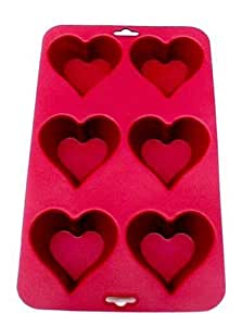 SiliconeZone Heart Muffin Pan, Red