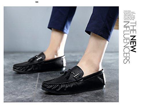 Men hombres mocasines para ocasionales cuero Loafers hombre de de hombres zapatos moda los de borla conducción blanco de lujo Zapatos Black de Bridfa para IxzHwgq