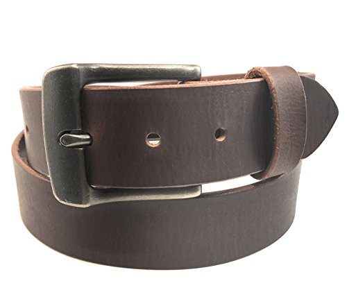Custom Western Belt Buckles - Distressed Brown Raw Leather Belt Natural Full Grain Solid Custom Mens Chunky Buckle Made in USA