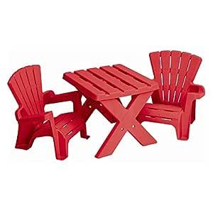Generic.. M Patio rojo niños Picnic NIC Garden FURN plástico mesa Ta de plástico Muebles de jardín Aires S y sillas y Cha infantil habitación Patio