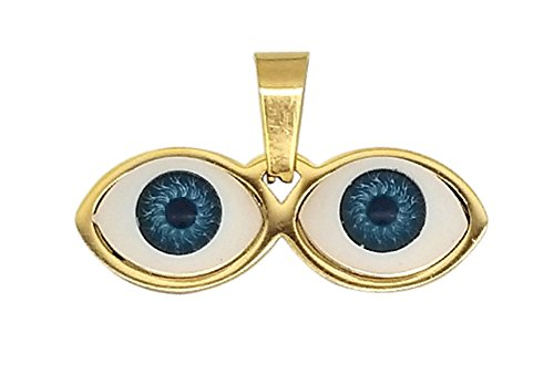 14kt Eyes Saint Lucky Charm Gold Stainless Steel - Ojitos De Santa Lucia Para Proteccion Dorado - Gold Saint