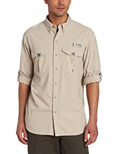 Columbia Men's Blood and Guts II Long Sleeve Woven Shirt, Fossil, Small
