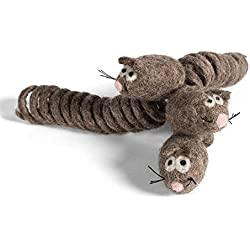 KittiChase - 3-pack Cat Chase Mouse Toy with Spring Tail - Handmade with 100% All-Natural Wool - For Cats and Kittens