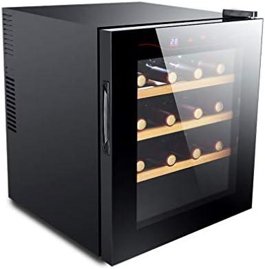 MYYINGELE Minibar Nevera para Vinos, Espacio para 16 Botellas de Vino Panel de Control Táctil Iluminación LED Enfriador con 6 Estantes, Silencioso Negro Silencioso
