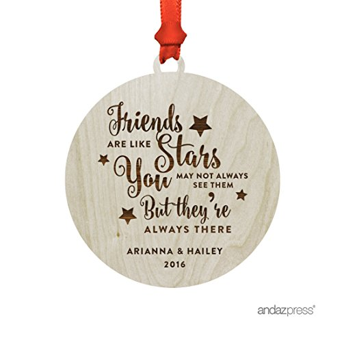 (Andaz Press Personalized Laser Engraved Wood Christmas Ornament with Gift Bag, Friends Are Like Stars You May Not Always See Them But They're Always There, 2019, Round, 1-Pack, Custom Name(s) )