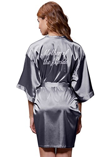 Satin Kimono Rhinestone Mother of The Bride Robe (XX-Large, Charcoal)