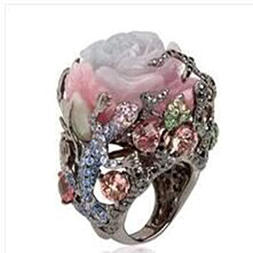 (Peigen Clearance! Sale! European and American Women's Personality Ring,Luxury Vintage Rose with Diamonds Exaggerated Ring Jewelry)
