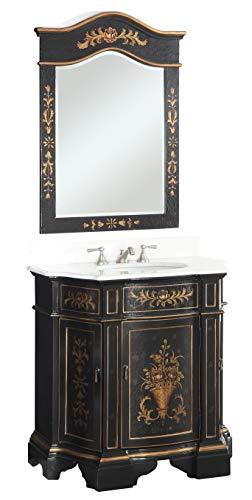 """35"""" Hand painted Black Crossfield Bathroom Sink vanity w/matching mirror HF090BK -"""