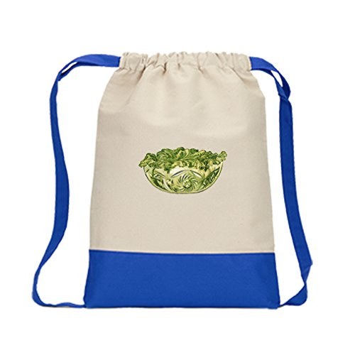 Canvas Backpack Color Drawstring Yacth Club Salad Lettuce By Style In Print | Royal Blue