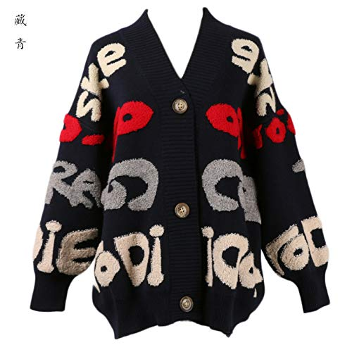 JIAKENVDE Jacke Strickjacke in dicken lockeren Buchstabenärmeln Wind Sweater Female