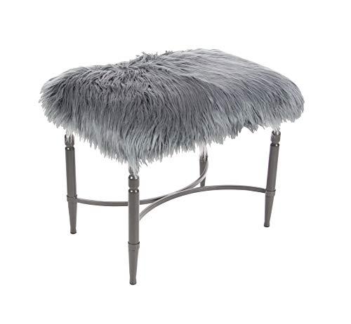 Silver Fur (Deco 79 84270 Metal Faux Fur Stool 26