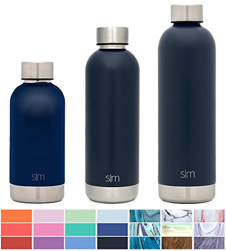 Simple Modern 12oz Bolt Water Bottle - Stainless Steel Hydro Kids Flask - Double Wall Vacuum Insulated Reusable Navy Small Metal Coffee Tumbler Leakproof Thermos - Deep Ocean