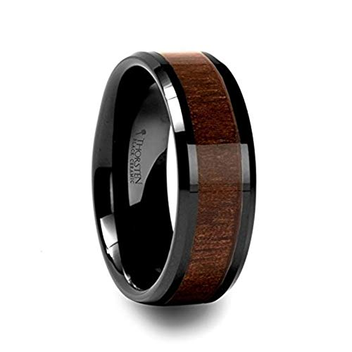 Thorsten Rings YUKON Black Ceramic Wedding Ring with Walnut Wood Inlay and Polished Beveled Edges Comfort Fit Lightweight Durable Wooden Wedding Band - 8mm