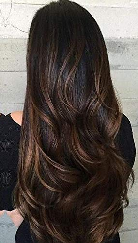Sunny Clip in Hair Extensions Balayage 18 inch Darkest Brown to Medium Brown Mix Dark Brown Double Weft Clip in Human Hair Extensions Balayage 7pcs 120g/Pack