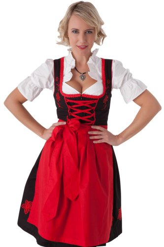Dirndl Womens 3-Piece Black Midi Dirndl with Red Embroidery Size 40 (Ladies Dirndl)