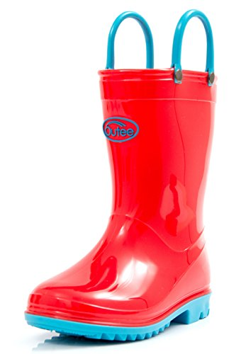 Outee Toddler Kids Rain Boots Collection with Handles (Red/Black/Blue/Purple/Pink)