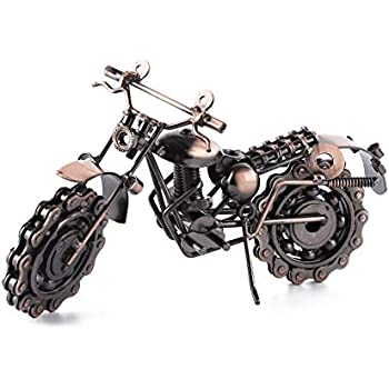 Wenmily Creative Retro Hand Soldering Wrought Iron Motorcycle Model, Home Decor Ornaments for Motorcycle Lovers or Kids