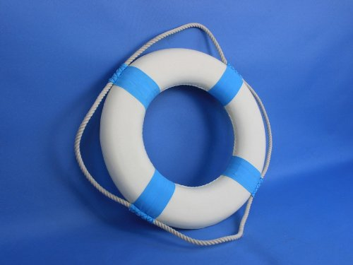 Decorative White Lifering with Light Blue Bands 15'' - Beach Decoration - Life Ring by Handcrafted Model Ships (Image #5)