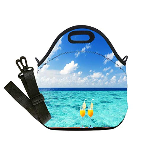 (3D Print Neoprene Reusable Cooler Fashion Lunch Bag Two fruity cocktails on the sea view terrace Lunch Bag- Insulated and Reusable Artful)