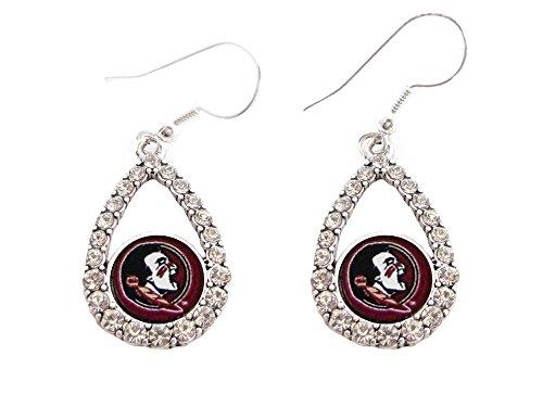 Florida State Seminoles Seminole Pendant - Sports Accessory Store Florida State Seminoles Garnet Teardrop Clear Crystal Silver Earrings Jewelry FSU