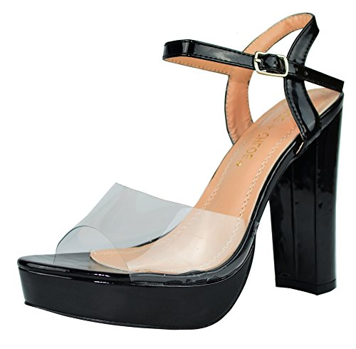 Chase & Chloe Women's Clear Open Toe 90s High Chunky Stacked Block Heel Sandal (8.5 B(M) US, Black Patent) 90s Black Platform