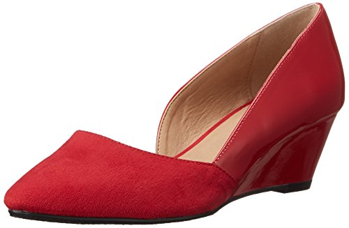 Red Leather Wedge (CL by Chinese Laundry Women's Tracie D'orsay Pump, Chili Red Suede-Patent, 8.5 M US)