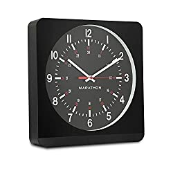 "Marathon CL030057BK-BK1 Analog Jumbo Wall Clock with Auto-Night Light. ""The Silent Second Hand Sweep Movement from Designer Collection."" Commercial Grade (Black)"