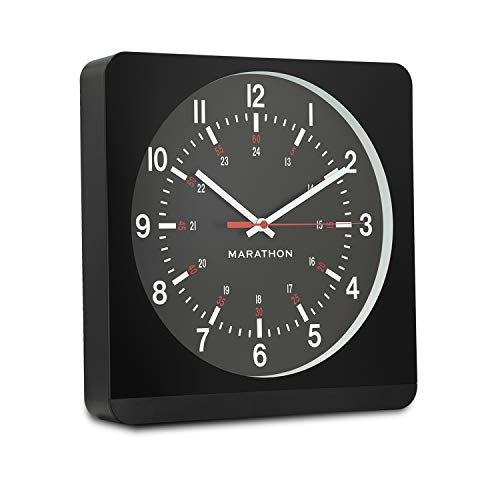 Marathon Analog Wall Clock with Auto Back Light and No Ticking Silent Sweep. Commercial Grade. Color-Black Case Black Dial. SKU-CL030057BK-BK1