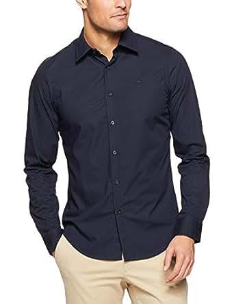 G-Star Raw Men's Core Super Slim l\s Dress Shirts, Mazarin Blue, Extra Small