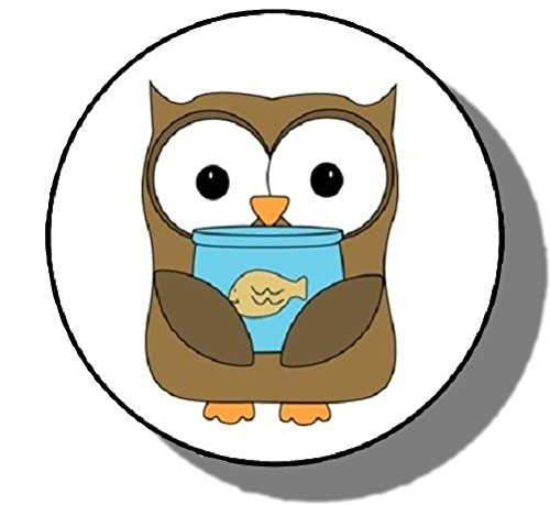Custom   Decorative  1 2  Inch  48 Piece Pack Of Mid Size Stickers For Arts  Crafts   Scrapbooking W  Cute Cartoon Owl Holding A Fish Style  Brown  Red  White    Black