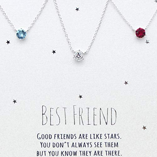 [SWAROVSKI CRYSTAL] Best friends necklace for 3, BFF Necklace, friendship necklace for 3, Silver dainty necklace, birthstone necklace, tiny crystal, dot necklace, birthstone